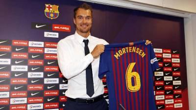 Casper Mortensen presentado por el FC Barcelona Lassa